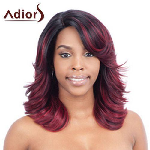 Fluffy Wave Medium Fashion Red Mixed Black Synthetic Adiors Wig For Women - COLORMIX
