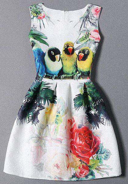 Birds and Floral Sleeveless Dress - WHITE S