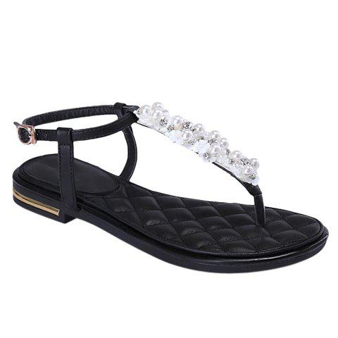 Casual Rhinestones and Faux Pearls Design Women's Sandals - BLACK 38