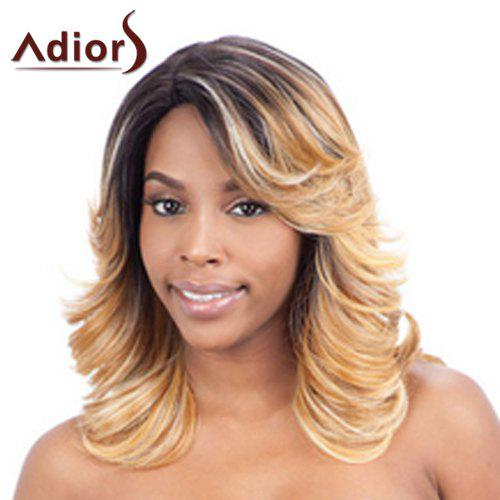 Stylish Mixed Color Synthetic Fluffy Wave Medium Women's Adiors Wig - COLORMIX