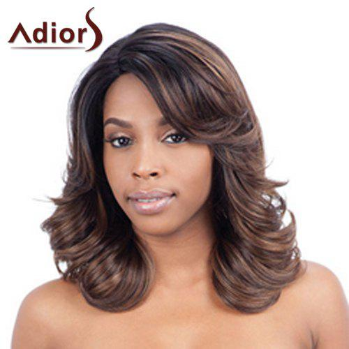 Shaggy Wavy Black Brown Mixed Vogue Medium Synthetic Adiors Wig For Women - COLORMIX