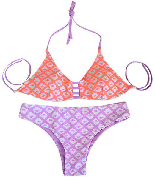 Trendy Halter Geometrical Print Bikini Suit Swimwear For Women