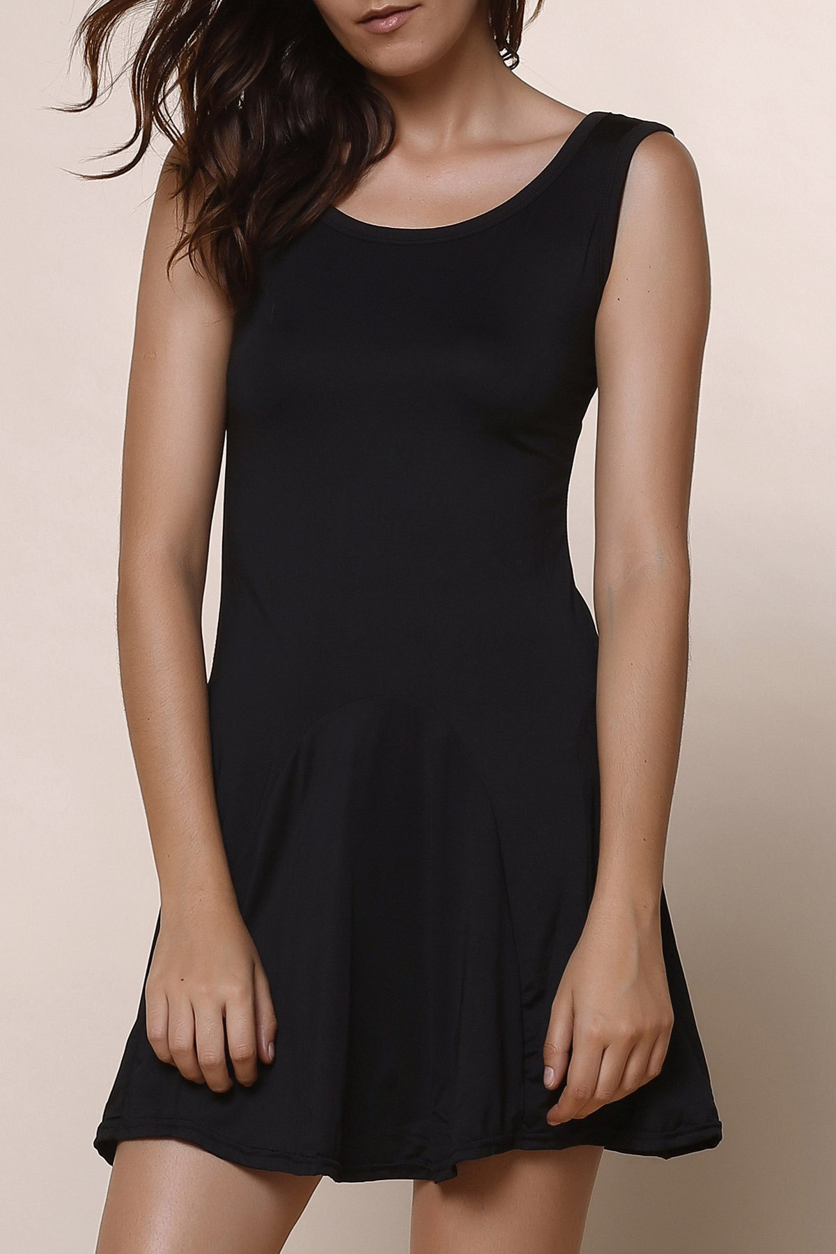 Brief Style Sleeveless Scoop Collar Solid Color Women's Dress