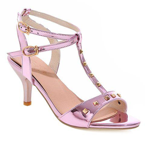 Stylish T-Strap and Double Buckle Design Women's Sandals