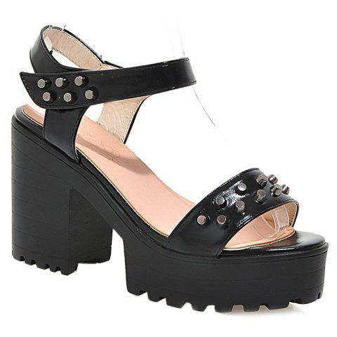 Fashionable Rivets and Platform Design Women's Sandals - BLACK 36