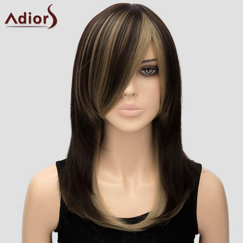 Adiors Women's Side Bang Long High Temperature Fiber Wig - COLORMIX