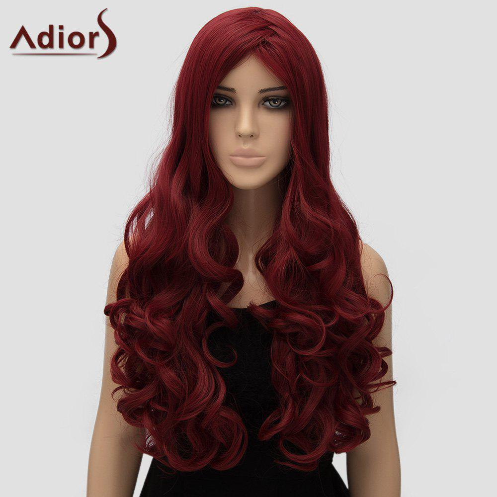 Adiors Women's Curly Long High Temperature Fiber Cosplay Wig - WINE RED