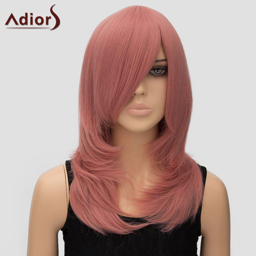 Trendy Adiors Women's Long Layered Side Bang High Temperature Fiber Cosplay Wig -  PINK