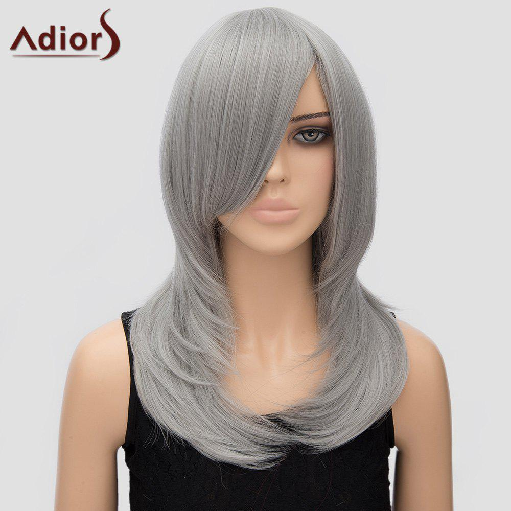 Adiors Women's Layered Long Side Bang High Temperature Fiber Cosplay Wig - SILVER GRAY