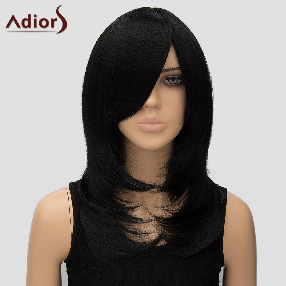 Adiors Women's Long Side Bang High Temperature Fiber Wig - BLACK