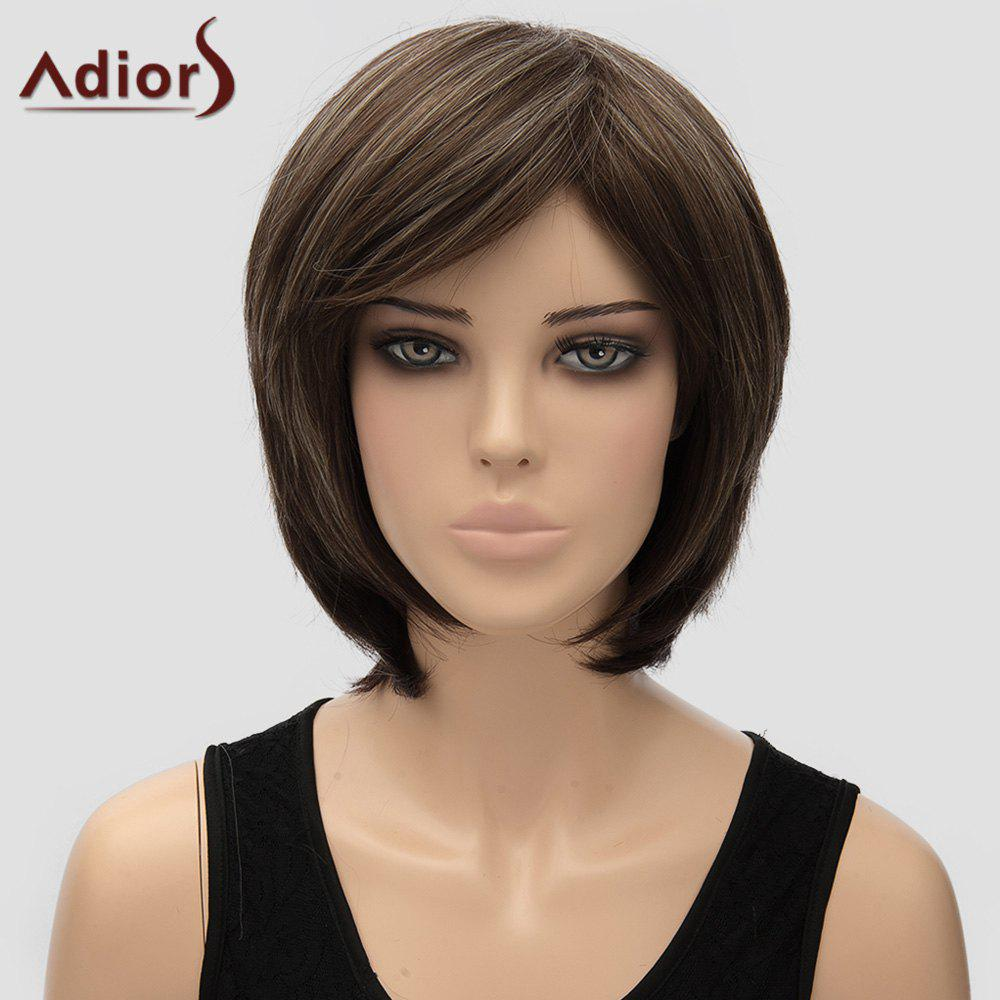 Adiors Women's Natural Straight Side Bang High Temperature Fiber Wig - COLORMIX