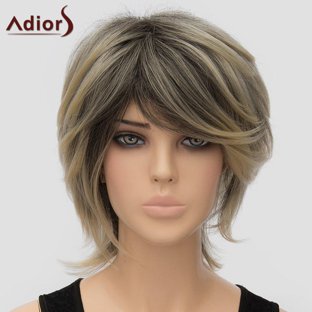 Fluffy Women's Adiors Inclined Bang High Temperature Fiber Wig - COLORMIX