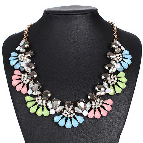 Rhinestone Alloy Water Drop Necklace - COLORMIX