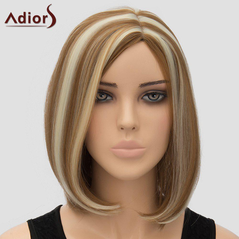 Women's Fashion Highlight Adiors Side Bang Bobo Style Heat Resistant Synthetic Wig - COLORMIX