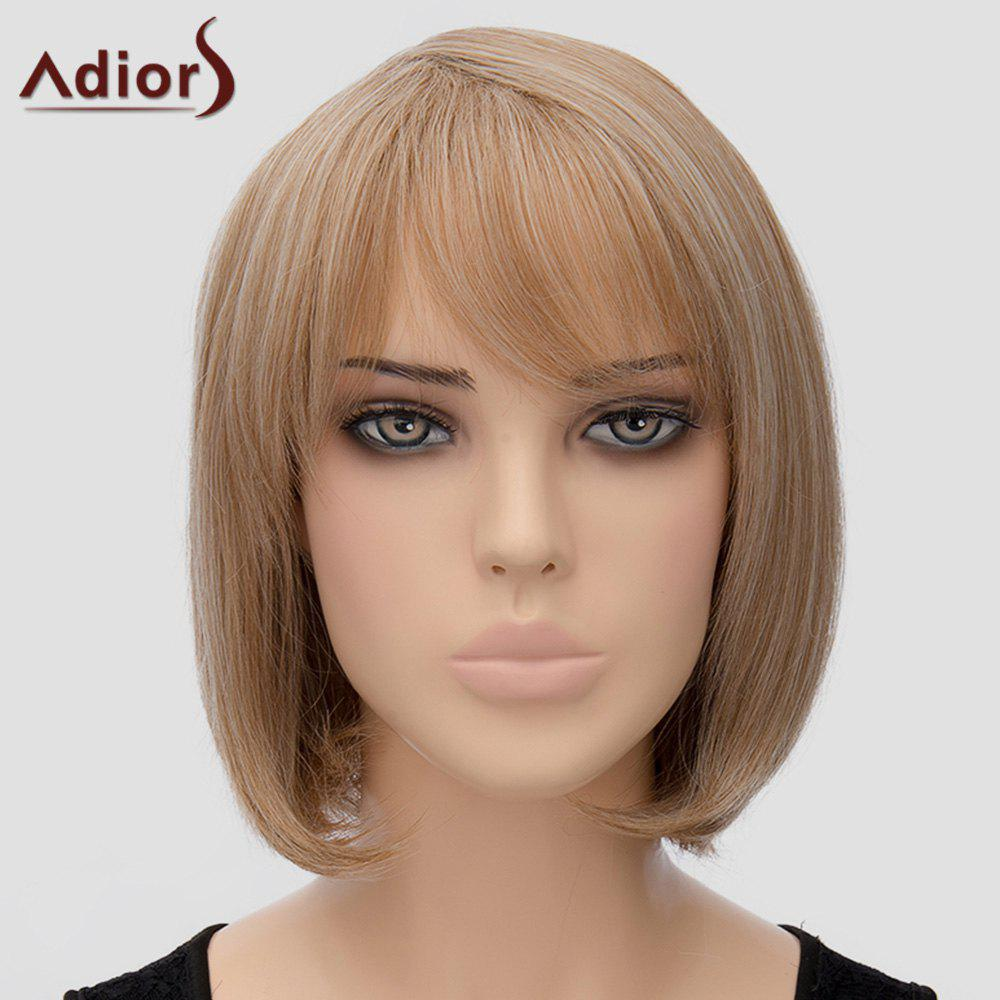 Women's Fashion Adiors Side Bang Bobo Style Heat Resistant Synthetic Wig - LIGHT BROWN