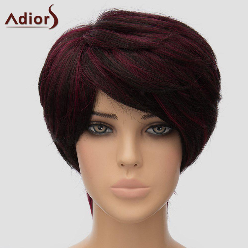 Fluffy Adiors Short Side Bang Heat Resistant Synthetic Women's Wig - COLORMIX