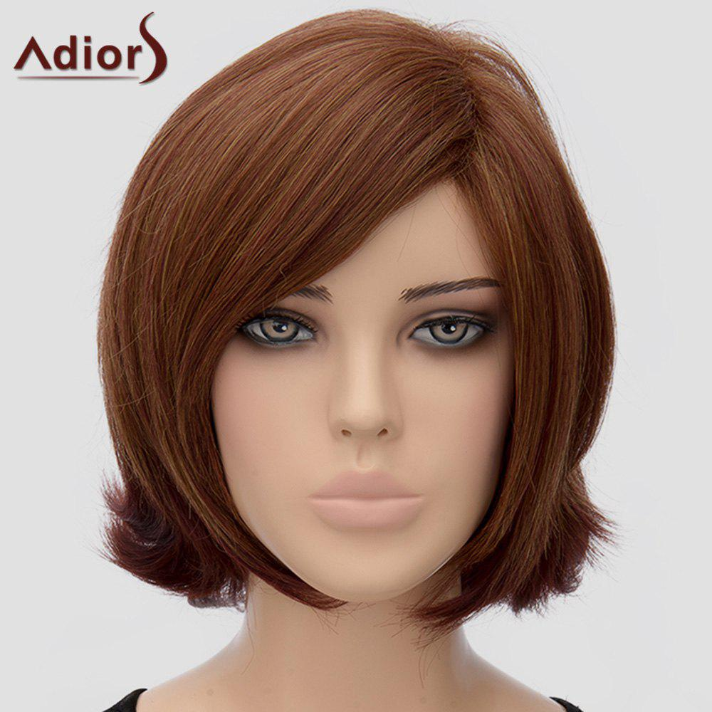 Trendy Adiors Medium Side Bang Heat Resistant Synthetic Wig For Women - BROWN