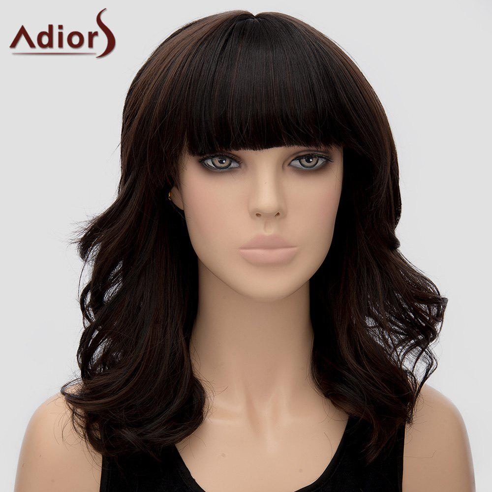 Trendy Adiors Curly Full Bang Heat Resistant Synthetic Wig For Women - DEEP BROWN