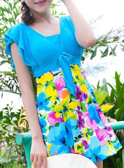 Sweet Short Sleeves Flouncing Floral Pattern Bowknot Women's Swimsuit - LAKE BLUE 5XL