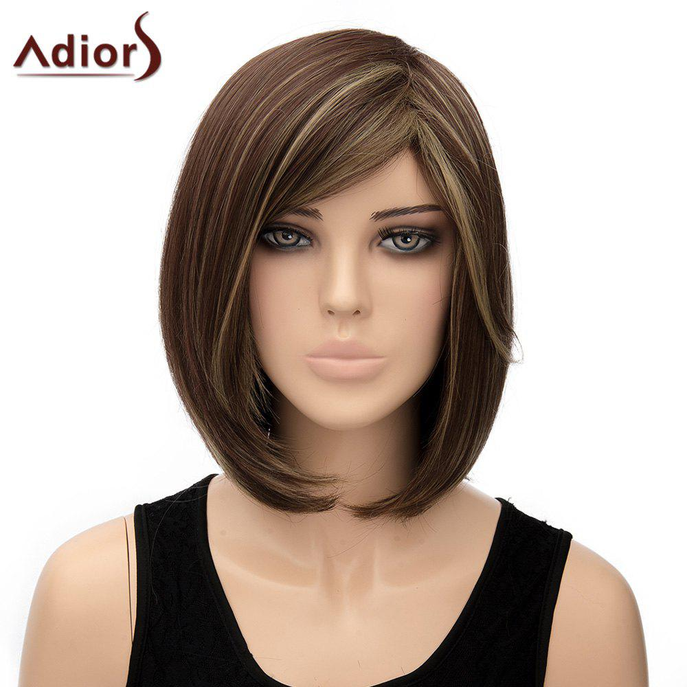 Elegant Short Dark Browm Mixed Synthetic Bob Style Straight Capless Adiors Wig For Women - COLORMIX