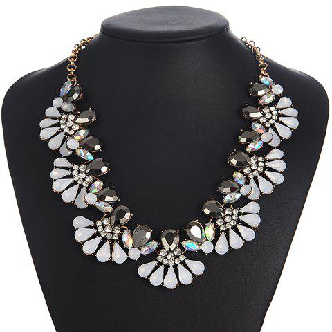 Adjustable Alloy Rhinestone Water Drop Necklace - WHITE