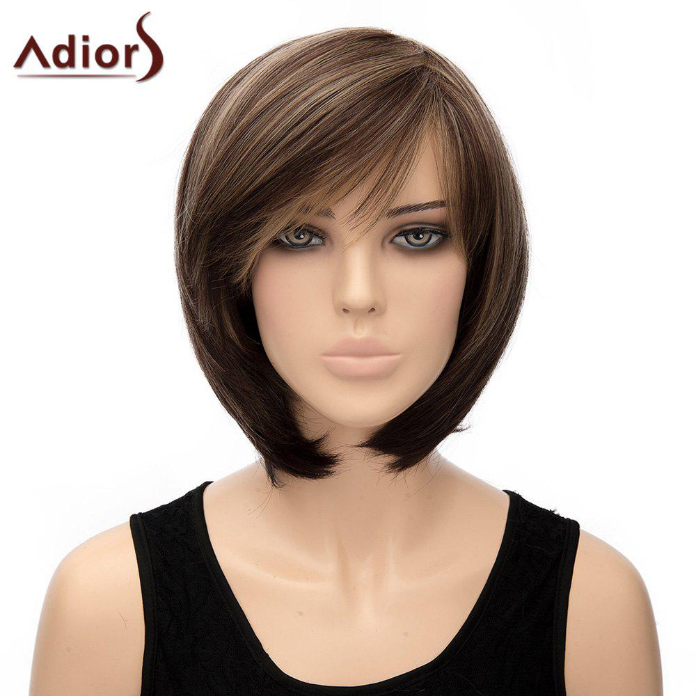 Prevailing Straight Dark Brown Mixed Short Side Bang Synthetic Adiors Wig For Women - COLORMIX
