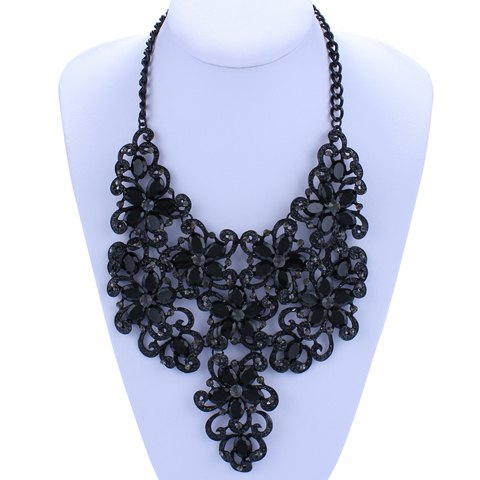 Rhinestone Flower Hollow Out Necklace - BLACK