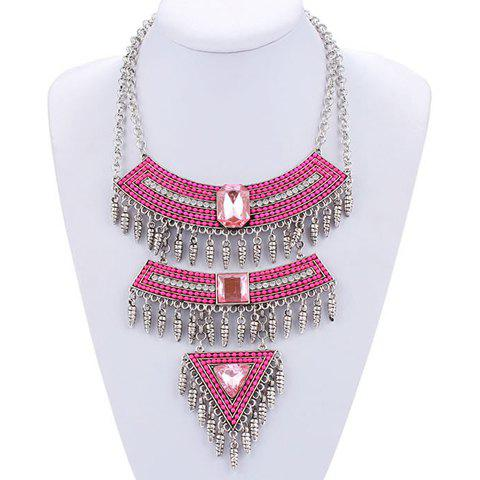 Alloy Faux Crystal Triangle Necklace -  PINK