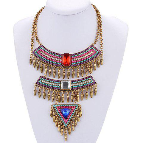 Alloy Faux Crystal Triangle Necklace - COLORMIX