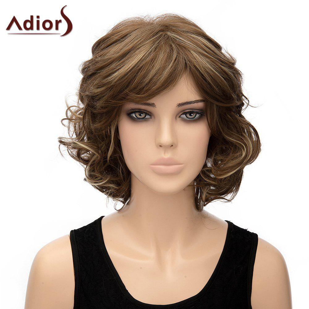 Fashion Side Bang Brown Mixed Synthetic Fluffy Short Curly Capless Adiors Wig For Women