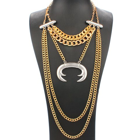 Alloy Layered Chains Necklace - GOLDEN