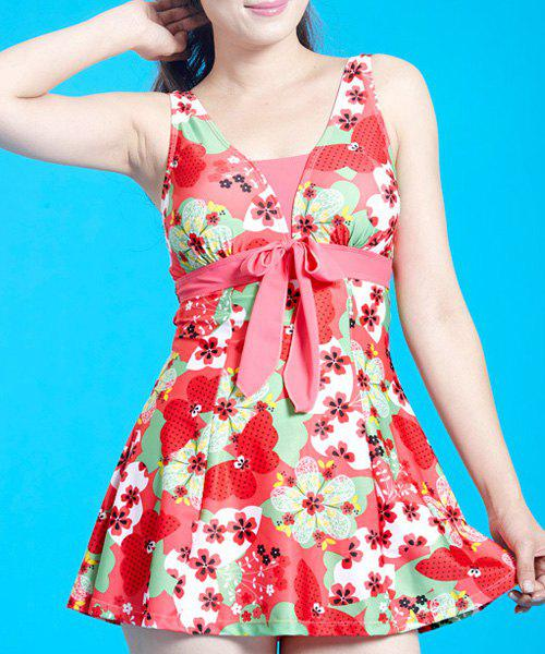 Sweet Sleeveless Floral Pattern Bowknot Embellished Women's Swimsuit - ROSE XL