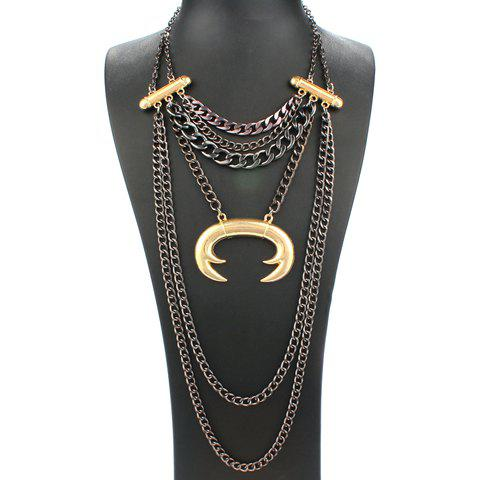 Multilayered Alloy Chains Necklace - BLACK