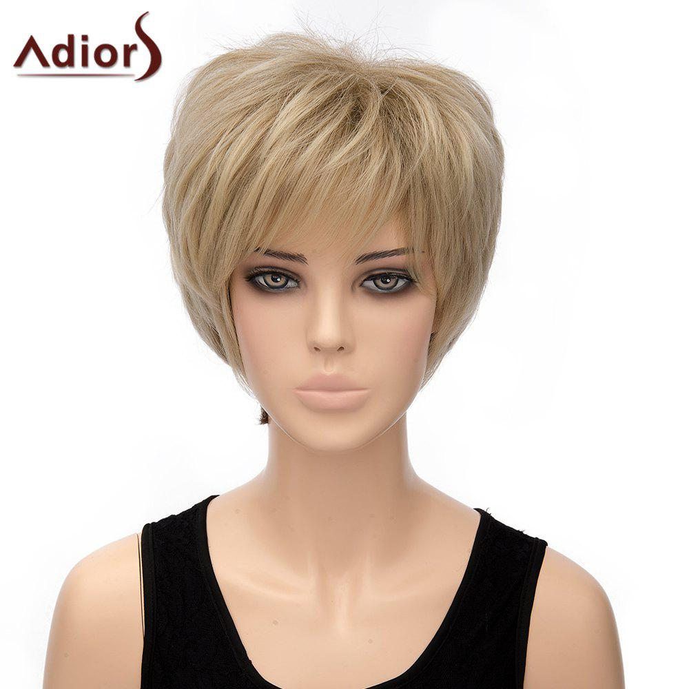 Vogue Light Blonde Ombre Brown Synthetic Straight Short Women's Adiors Wig - OMBRE