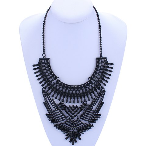 Gorgeous Black Faux Gem Hollow Out Necklace For Women