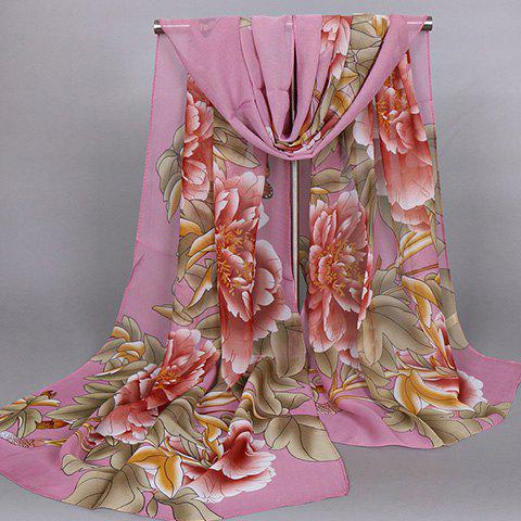 Chic Handpainted Big Peony Leaf Butterfly Pattern Women's Chiffon Scarf - LIGHT PURPLE