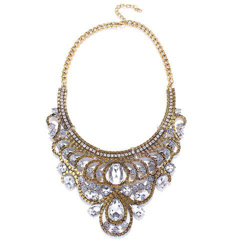Rhinestone Water Drop Hollow Out Necklace - GOLDEN