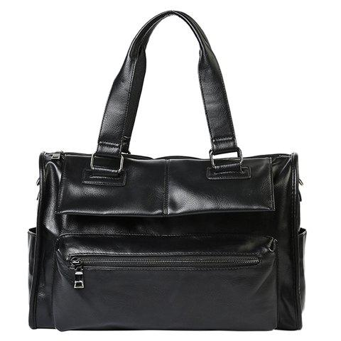 Casual Black Color and Buckle Design Men's Briefcase