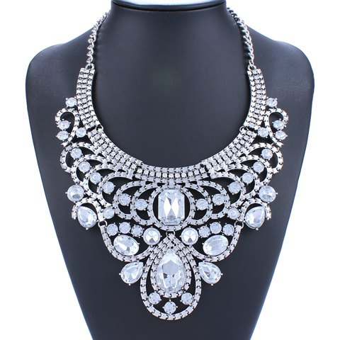 Faux Crystal Water Drop Hollow Out Necklace - SILVER