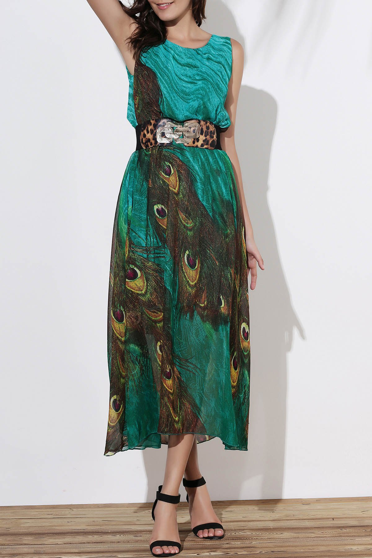 Fashionable Scoop Neck Peacock Feather Print Sleeveless Women's Dress - GREEN XL