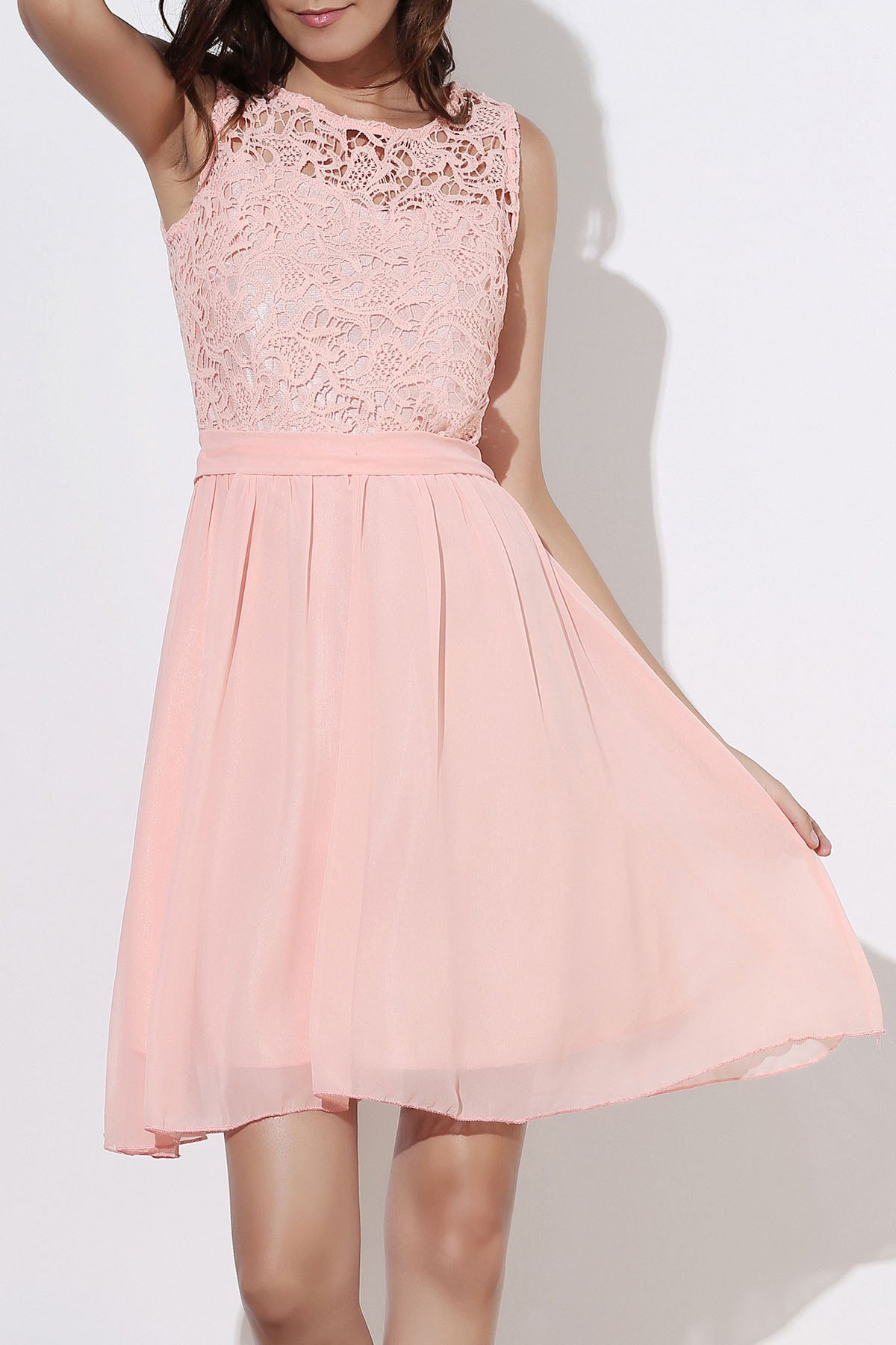 Round Collar Sleeveless Dress - LIGHT PINK S