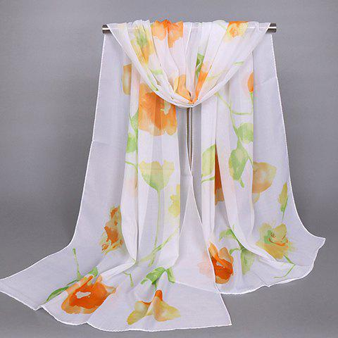 Chic Oil Painting Flower Pattern Women's Chiffon Scarf - ORANGE