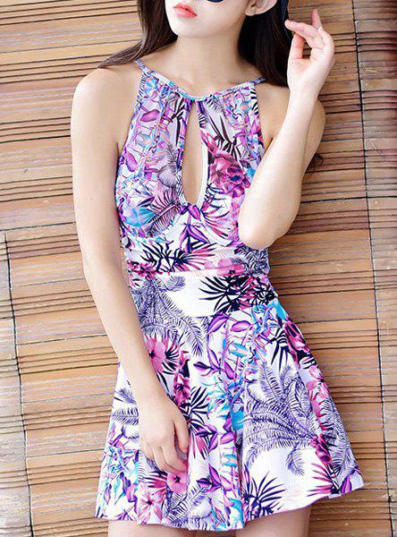 Sweet Women's Spaghetti Strap Floral Print Hollow Out Dress Swimwear - PURPLE M