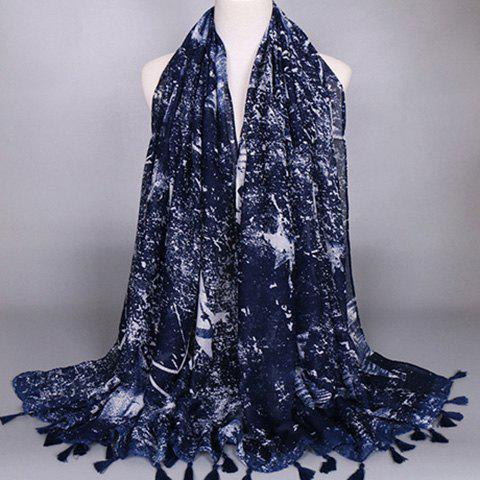 Chic Tie-Dyed Five-Pointed Star Pattern Tassel Pendant Women's Scarf - CADETBLUE