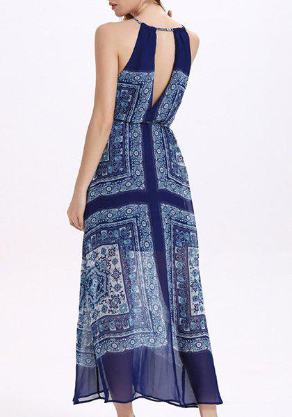 Trendy Sleeveless Chiffon Hollow Out Printed Women's Dress - DEEP BLUE L