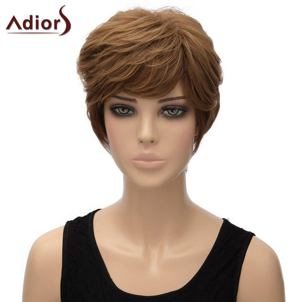Fluffy Curly Brown Mixed Elegant Short Side Bang Women's Synthetic Adiors Wig - OMBRE