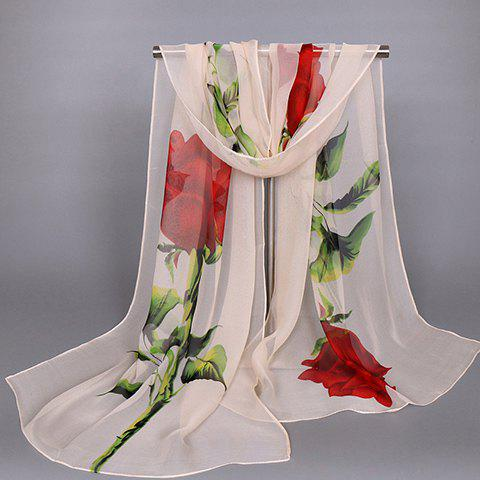 Chic Big Rose and Leaf Pattern Women's Chiffon Scarf - BEIGE