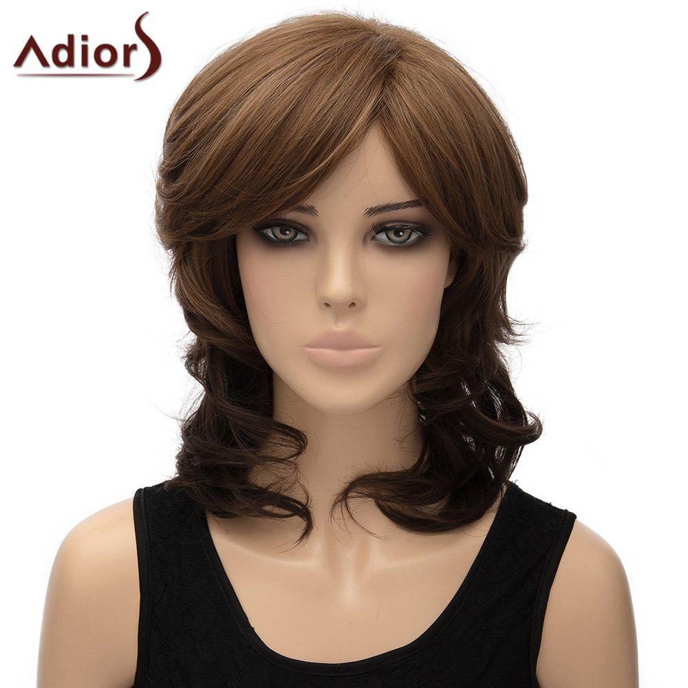 Fluffy Wave Synthetic Ladylike Medium Brown Mixed Adiors Wig For Women red mixed black synthetic fluffy wave medium women s adiors wig