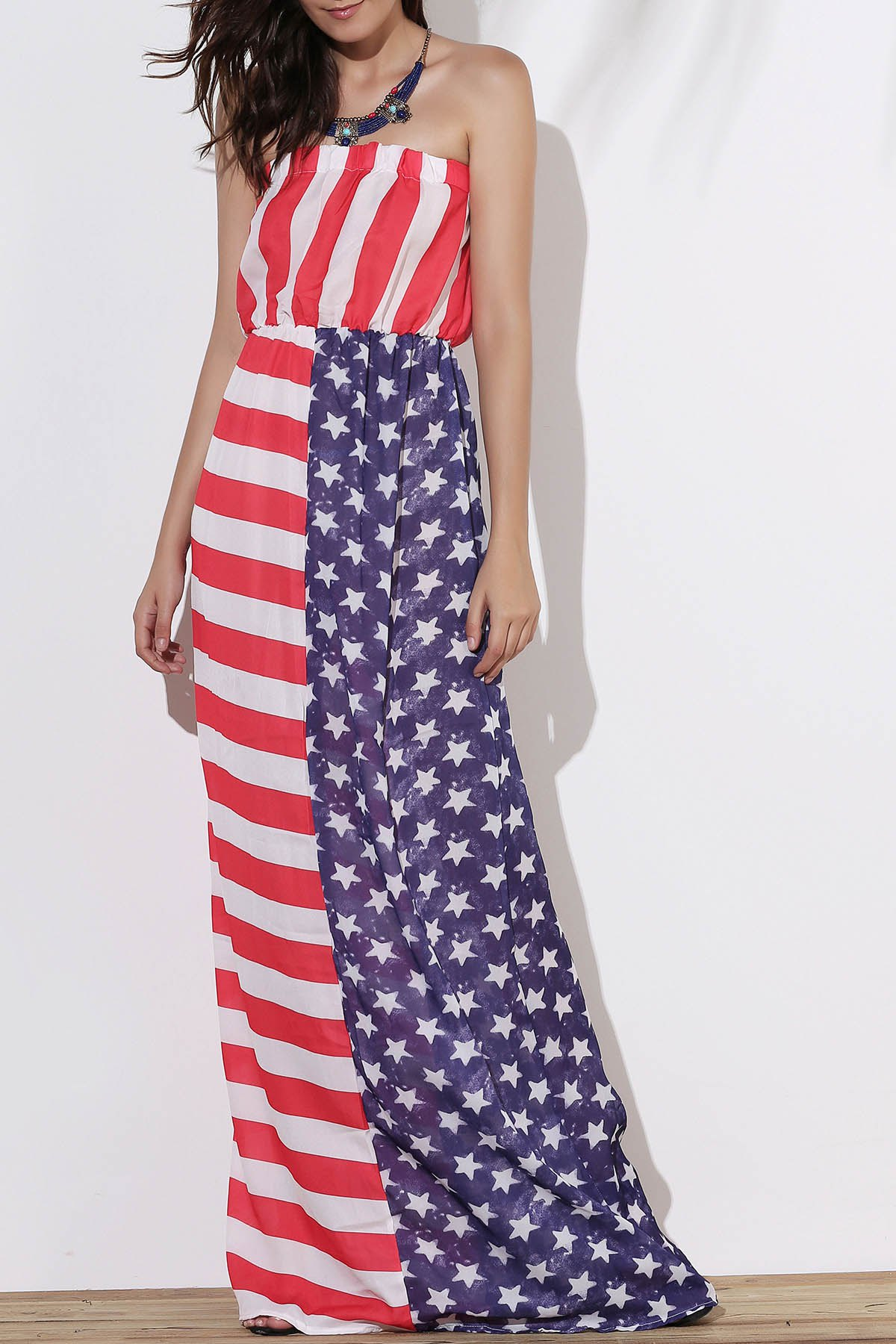 Strapless American Flag Print Floor Length Dress - AS THE PICTURE XL