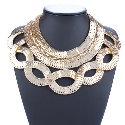 Gold Plated Crossed Snake Necklace - GOLDEN